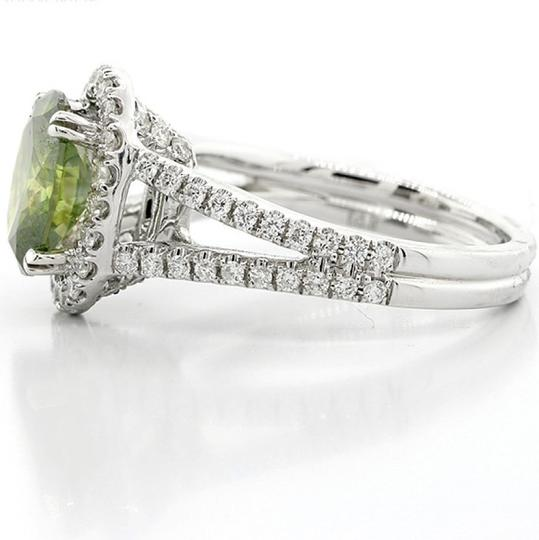 Green 2.72 Cts Oval with Halo Set In 18k White Engagement Ring