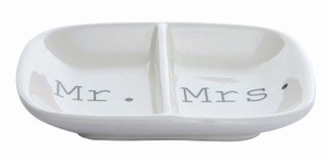 Wedding Ceramic Section Mr and Mrs Ring Dish For Alternative Ceremony