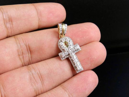 Jewelry Unlimited 10K Yellow Gold Egyptian Ankh Cross Diamond Pendant Charm 0.75 Ct 1.25
