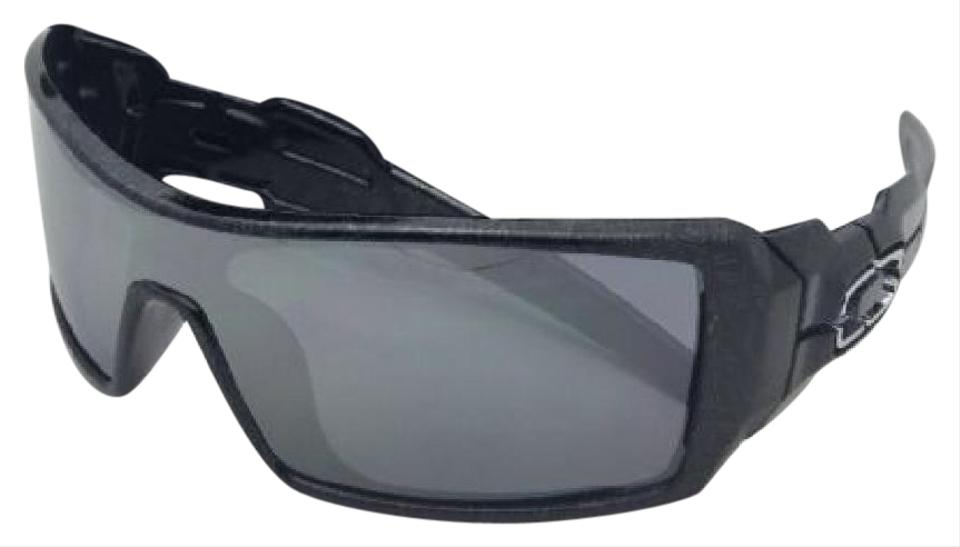 ca6ba323806 Oakley Oakley Sunglasses OIL RIG OO9081 24-058 Black-Silver Ghost Text  Shield Image ...