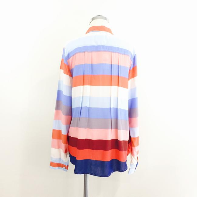 Maeve Striped Longsleeve Pocket Button Down Shirt red blue