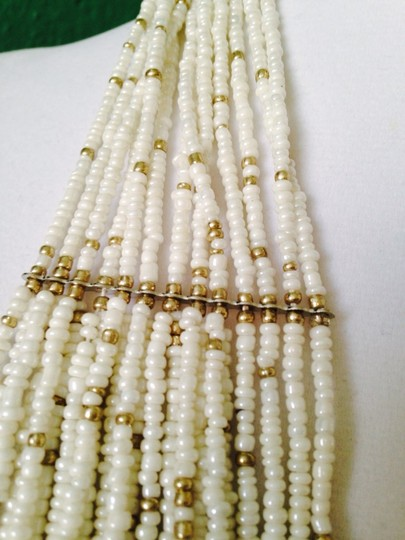 Other 2-Piece Set, White & Gold Seedbead Necklace & Earrings