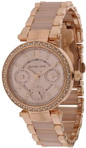 Michael Kors Parker Mini Multi-Function Rose Gold Blush Acetate Ladies Watch
