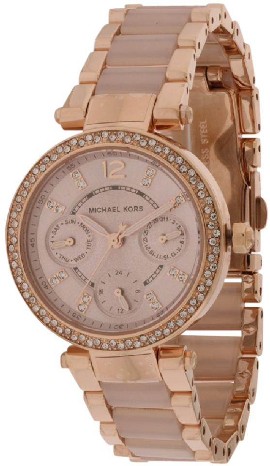 7fb982e3cd8a Michael Kors Parker Mini Multi-Function Rose Gold Blush Acetate Ladies Watch  Image 0 ...