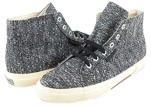Superga Women Designer High Top Sneakers Silver Athletic