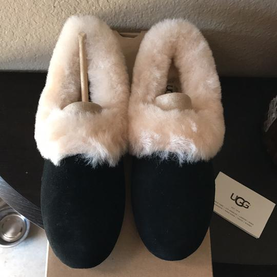 UGG Australia black with off white fur Flats