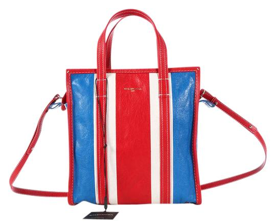 Preload https://img-static.tradesy.com/item/21709853/balenciaga-2016-small-striped-bazar-shopper-red-white-and-blue-lambskin-leather-tote-0-1-540-540.jpg