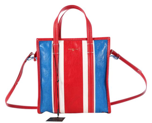 Item - 2016 Small Striped Bazar Shopper Red White and Blue Lambskin Leather Tote