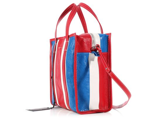 Balenciaga Bg.l0516.09 Agneau Tricolor Leather Market Tote in Red, White, and Blue