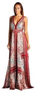 Red Maxi Dress by AG Studio Paisley Satin Print Maxi Party