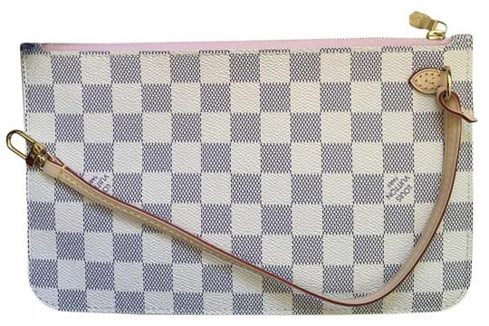 Louis Vuitton Neverfull 2017 Damier Azur Mm Clutch Rose Ballerine Blue and Off White with Pink Interior Canvas Wristlet
