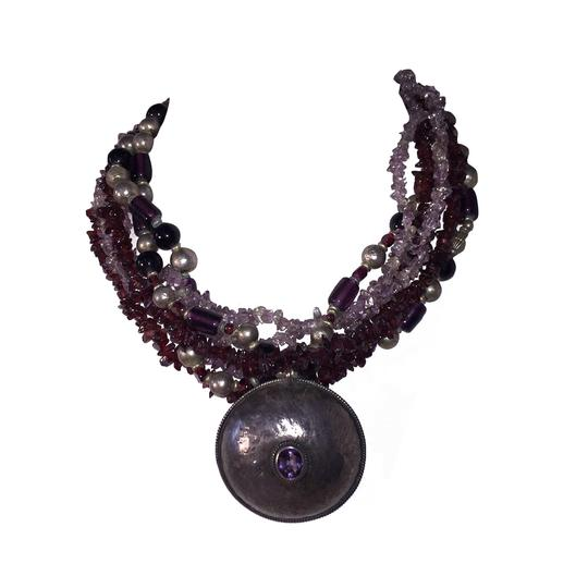 Preload https://img-static.tradesy.com/item/21709961/purplesilver-sterling-amethyst-pendant-glass-amethyst-and-garnet-chip-bead-necklace-0-1-540-540.jpg