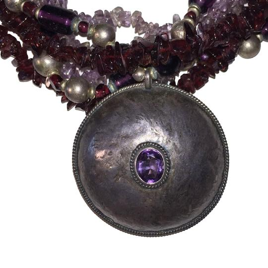 Vintage Sterling Amethyst Pendant Glass Amethyst and Garnet Chip Bead Necklace