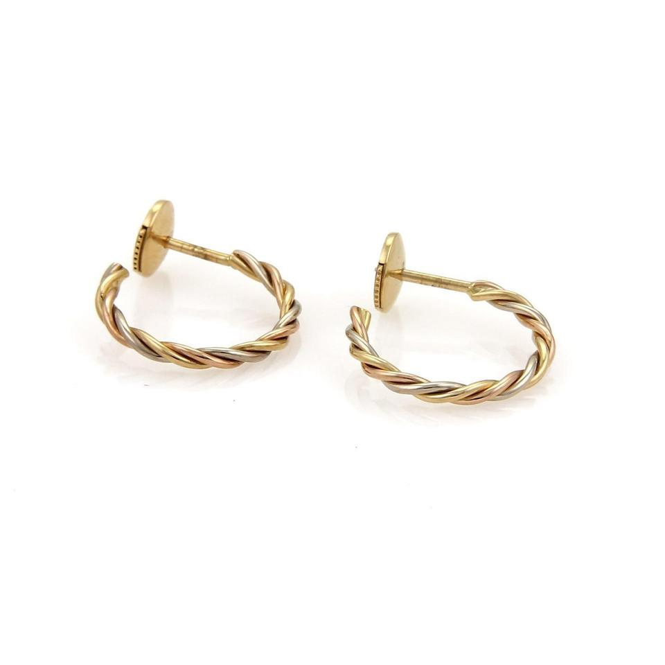 Cartier Tri Color Gold Twisted Wire Hoop Earrings - Tradesy