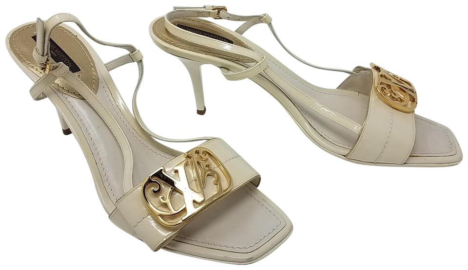 fc1639e68c3c Louis Vuitton Gold Hardware Lv Peep Toe Patent Leather Embellished White  Sandals Image 0 ...