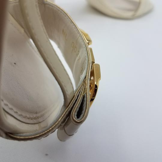 Louis Vuitton Gold Hardware Lv Peep Toe Patent Leather Embellished White Sandals