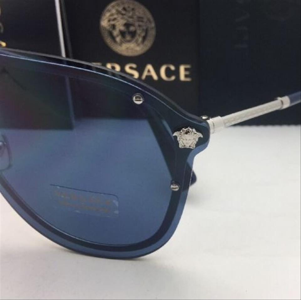 252646a46f Versace New VERSACE Sunglasses VE 2180 1000 80 125 Silver   Blue Shield w .  1234567