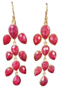 The Queens Closet Red Ruby XL Chandelier Drop Earrings Dangles NEW 18K Gold Vermeil