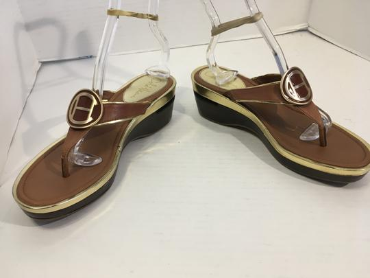 Cole Haan Upper Soles Brown leather with gold borders slip on thong large gold brown metal emblem NikeAir system AA narrow width Wedges