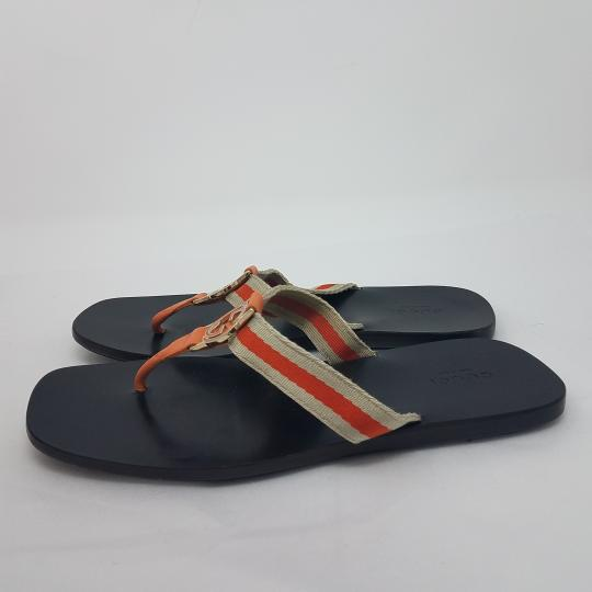 Gucci Gg Interlocking Gg Guccissima Silver Hardware Orange, White, Gold Sandals