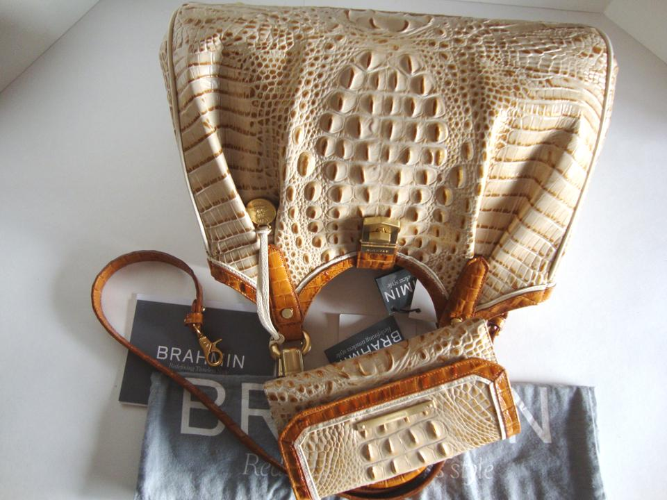 Leather Soft Genuine Bag Elisa Brahmin Wallet Multi Hobo Beige Muslin Checkbook Tri texture Tvxw6pqI