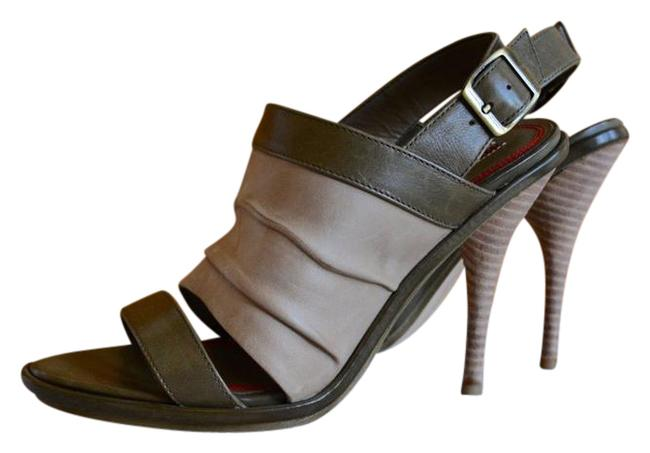 Item - Beige Green Sling Back Sandals Size US 8 Regular (M, B)