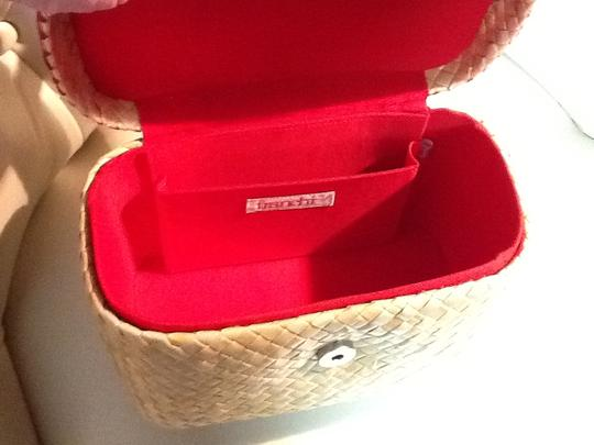 Franchi Straw Box Shape Embroidered Lined Perfect Condition Satchel in Tan and red