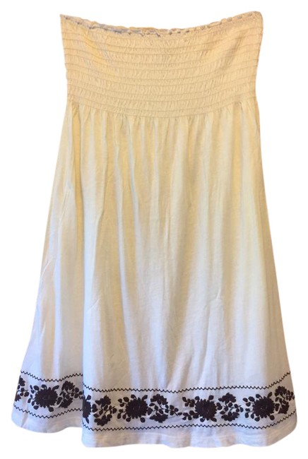 Item - Strapless With Cream W/ Brown Embroidery Top