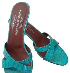 Donald J. Pliner Kitten Heel Slide Summer Turquoise Sandals