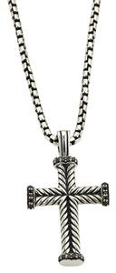 David Yurman David Yurman Diamond Sterling Silver Cross Pendant & Chain Necklace