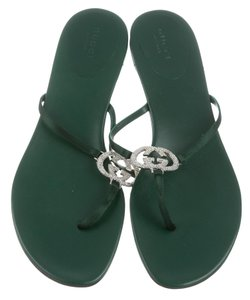Gucci Satin Crystal Embellished Gg Green, Silver Sandals