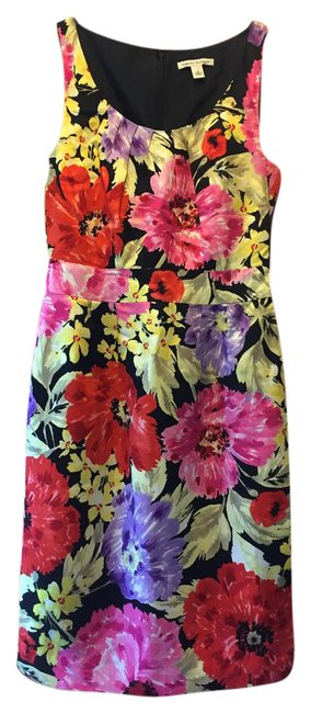 Item - Multicolor Floral Suiting Mid-length Work/Office Dress Size 2 (XS)
