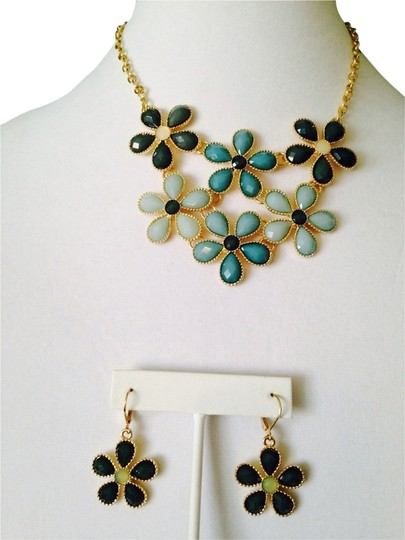 Other Embellished by Leecia 2-Piece Set, Shades Of Green Faceted Flower Resin Necklace & Earrings Image 0