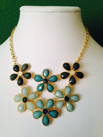 Other Embellished by Leecia 2-Piece Set, Shades Of Green Faceted Flower Resin Necklace & Earrings Image 1