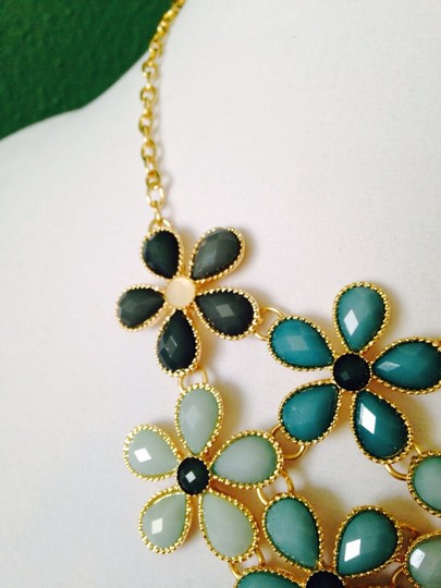 Other Embellished by Leecia 2-Piece Set, Shades Of Green Faceted Flower Resin Necklace & Earrings