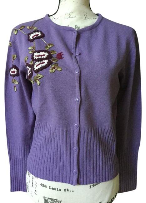 Preload https://img-static.tradesy.com/item/21711121/bisou-bisou-lilac-michele-bohbot-embroidered-cardigan-size-12-l-0-3-650-650.jpg