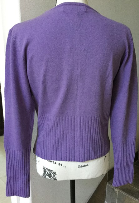 Bisou Bisou Lilac Michele Bohbot Embroidered Cardigan Size 12 (L) Bisou Bisou Lilac Michele Bohbot Embroidered Cardigan Size 12 (L) Image 4