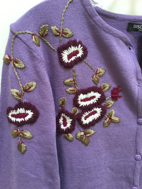 Bisou Bisou Lilac Michele Bohbot Embroidered Cardigan Size 12 (L) Bisou Bisou Lilac Michele Bohbot Embroidered Cardigan Size 12 (L) Image 5