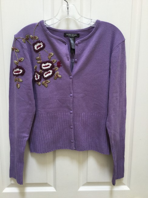 Bisou Bisou Lilac Michele Bohbot Embroidered Cardigan Size 12 (L) Bisou Bisou Lilac Michele Bohbot Embroidered Cardigan Size 12 (L) Image 6