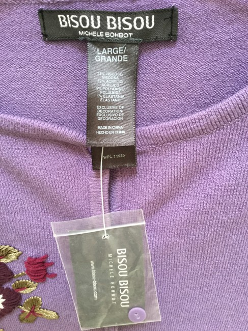 Bisou Bisou Lilac Michele Bohbot Embroidered Cardigan Size 12 (L) Bisou Bisou Lilac Michele Bohbot Embroidered Cardigan Size 12 (L) Image 8