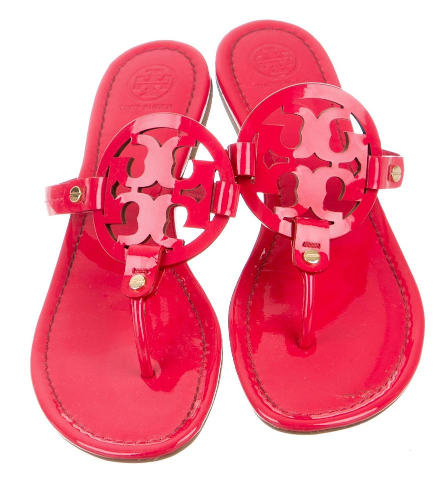 6b3f4eb33fc9 Tory Burch Red Gold Patent Leather Miller Slide Sandals. Size  US 9 ...