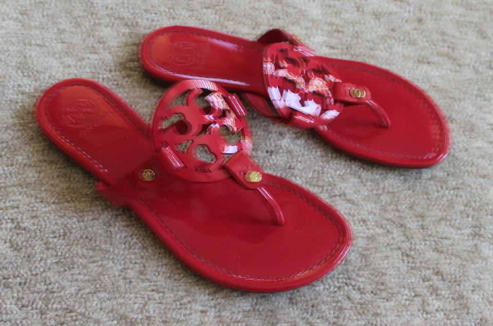 3bbfd81f85b0 Tory Burch Red Gold Patent Leather Miller Slide Sandals Size US 9 ...