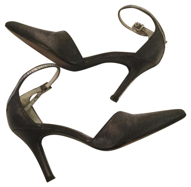 Item - Silver With Stones On Ankle and Down The Heel Formal Shoes Size US 4 Regular (M, B)