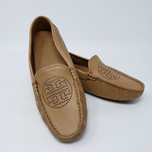 Tory Burch Bommer Reva Perforated Logo Square Toe Beige Flats