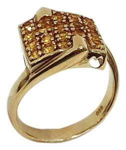 Other 14K Yellow Gold Yellow Crystal Ring UK 7