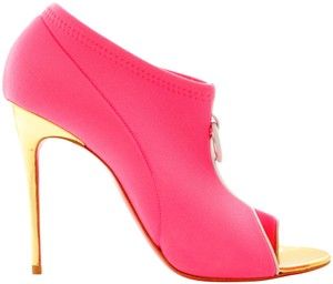 Christian Louboutin Pigalle Pumps Studs Spikes Ankle Heel Gold Pink Boots