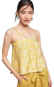 Anthropologie Floreat Gold Yellow One Shoulder Embroidered Top