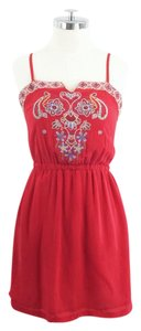 Line & Dot short dress red Embroidered Silk on Tradesy