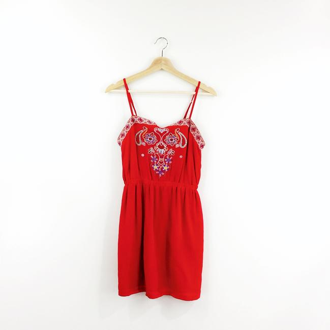 Line & Dot short dress red Embroidered Silk on Tradesy Image 4