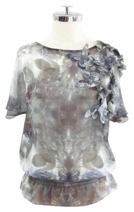 Ted Baker Butterfly Print Applique Gold Top multicolored